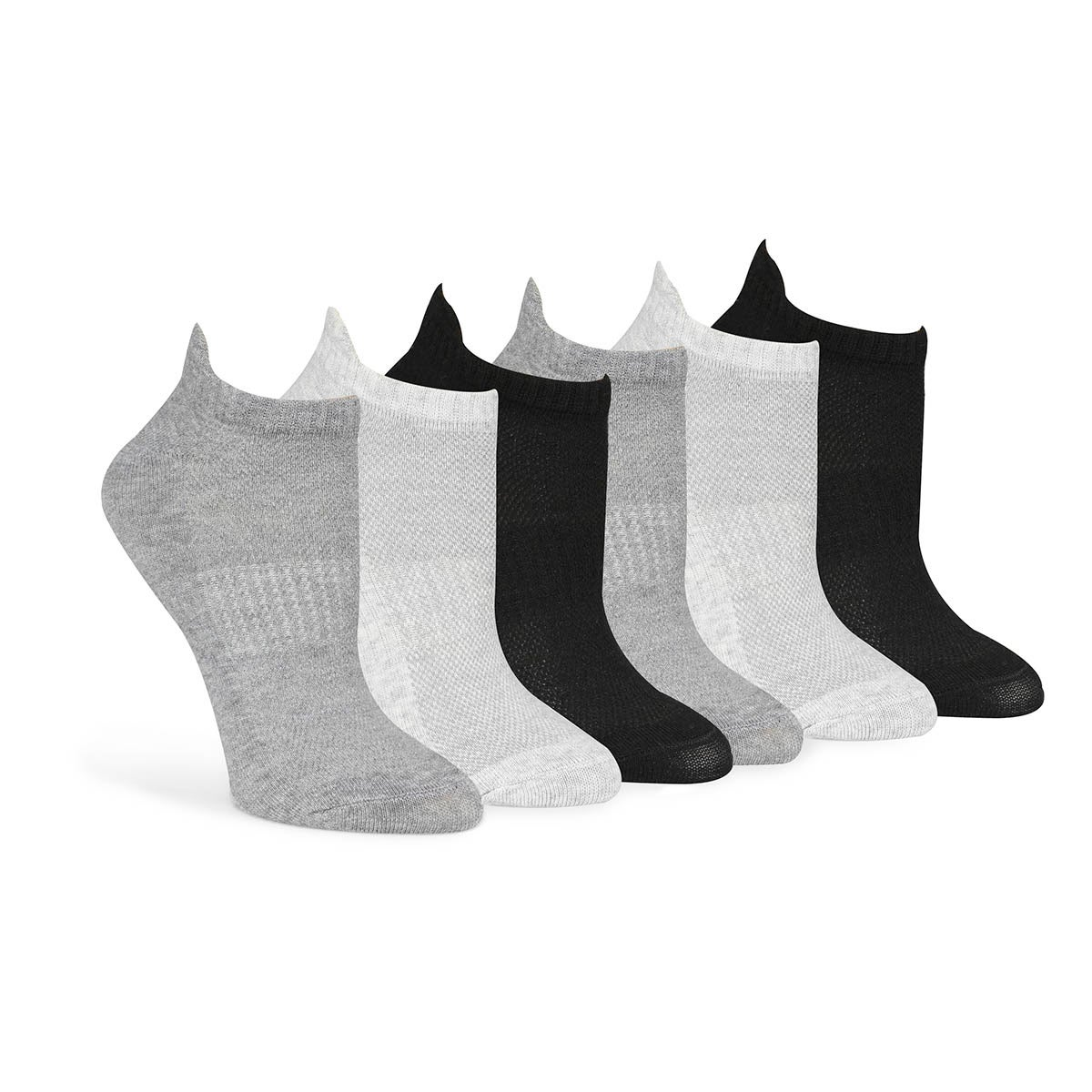 Lds Solid blk/gry extra low cut -6 pk