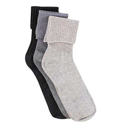 Keds Women's contrast turncuff char multi socks - 3 pk