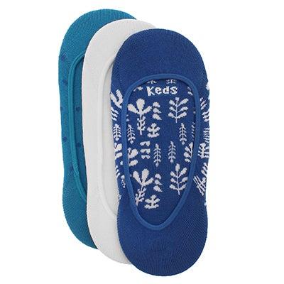 Keds Women's JETSETTER blue floral multi liners- 3 pk