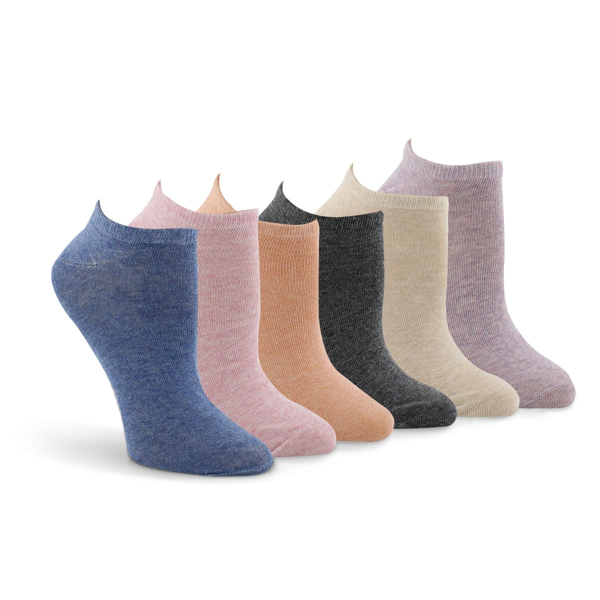 Lds Solid Low Show mlti ankle sock- 6 pk