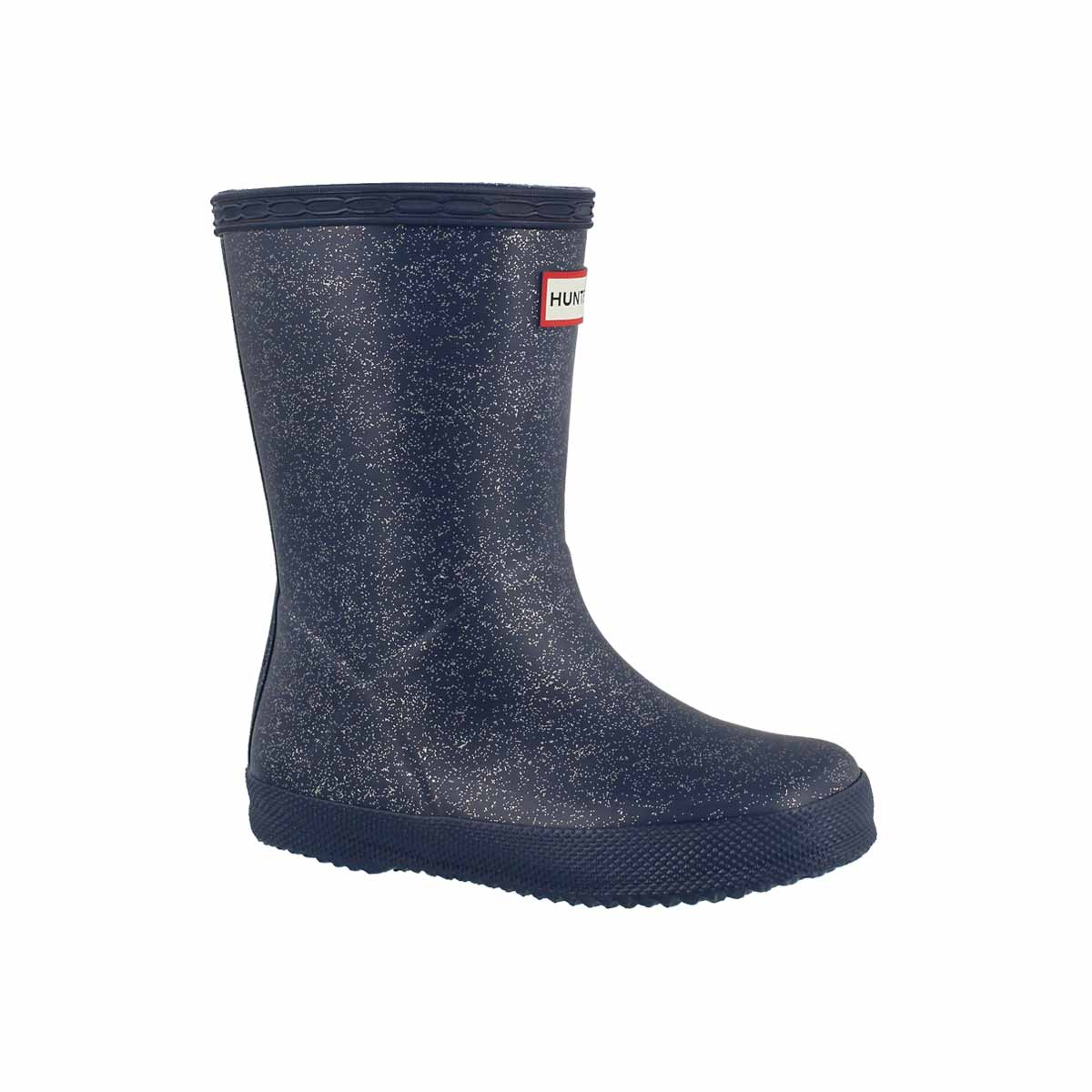 Infants' FIRST GLITTER dark blue rain boots