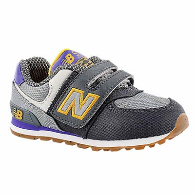 New Balance Infants' 574 grey/purple hook & loop sneakers