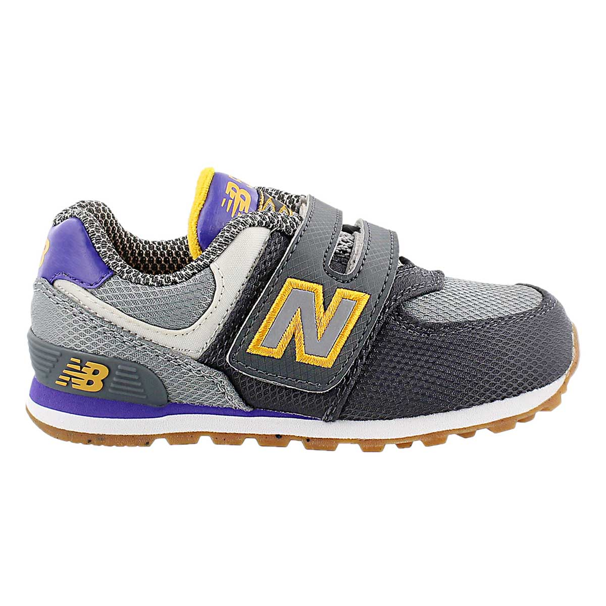 Infs 574 gry/ppl hook & loop sneaker