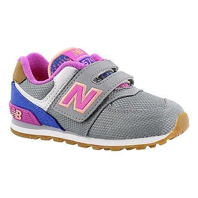 New Balance Infants' 574 grey/pink hook & loop sneakers