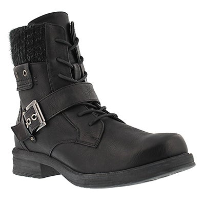 Lds Kiara blk lace up casual boot
