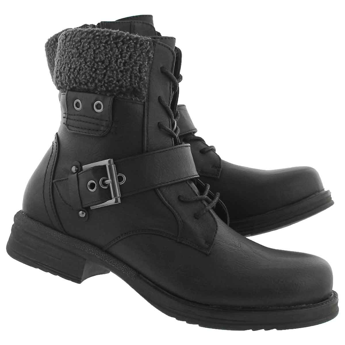 Lds Kiara 2 blk lace up casual boot