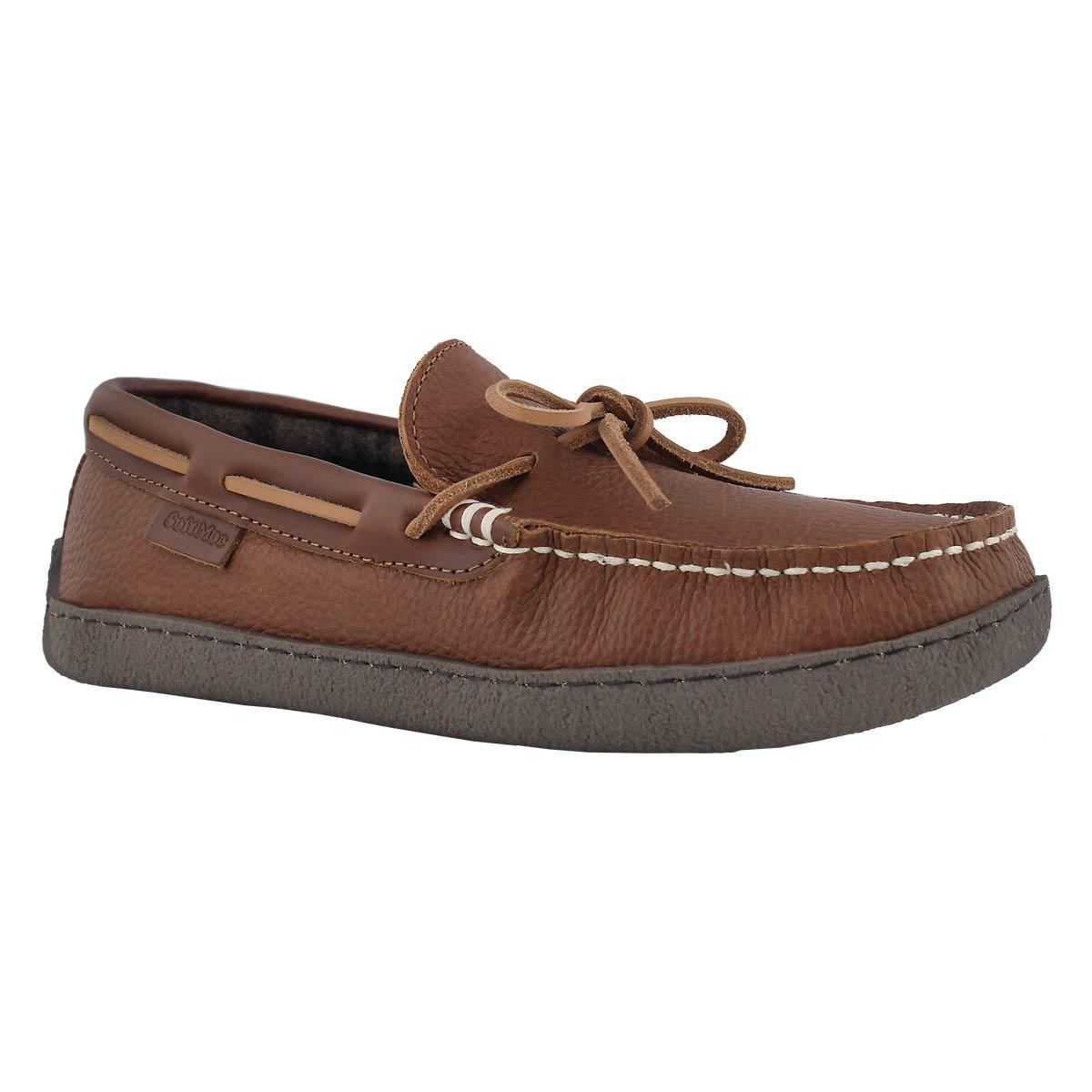Mns Kingston brown plaid lined moc