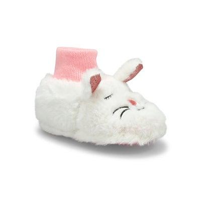 Infs-g Kitty wht/pnk slipper bootie