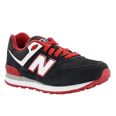 New Balance Boys' 574 black/red lace-up sneakers