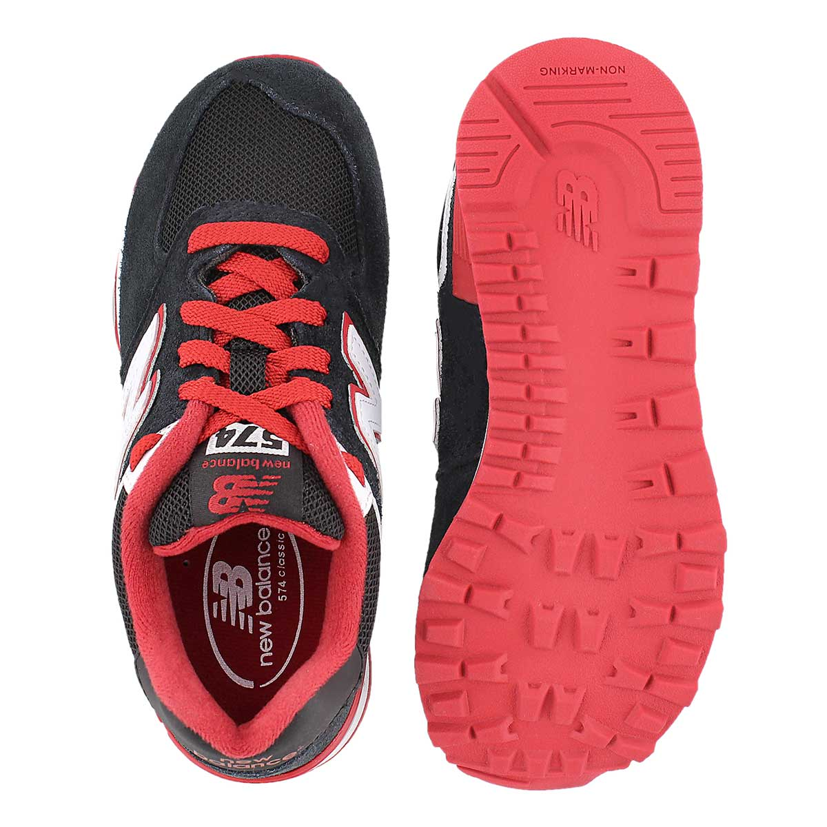 Bys 574 black/red lace up sneaker