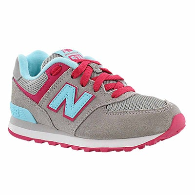 New Balance Girls' 574 grey/light blue lace-up sneakers