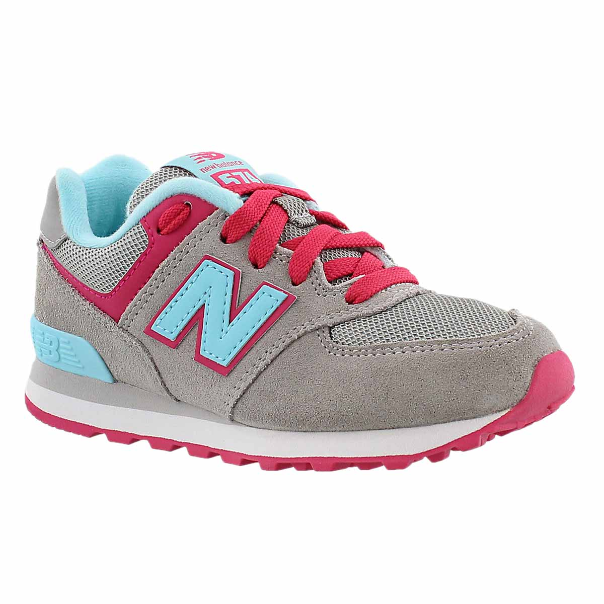 Girls' 574 grey/light blue lace-up sneakers