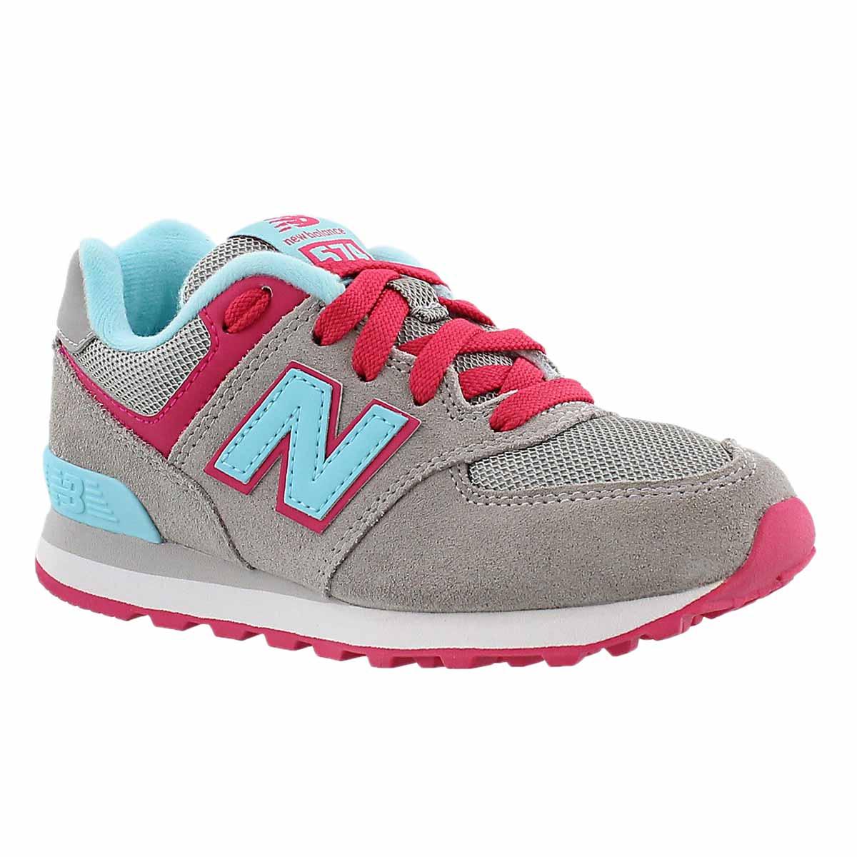 Grls 574 grey/lt blue lace up sneaker