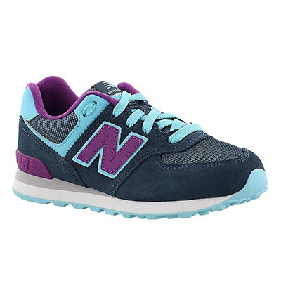 New Balance Girls' 574 blue/purple lace-up sneakers