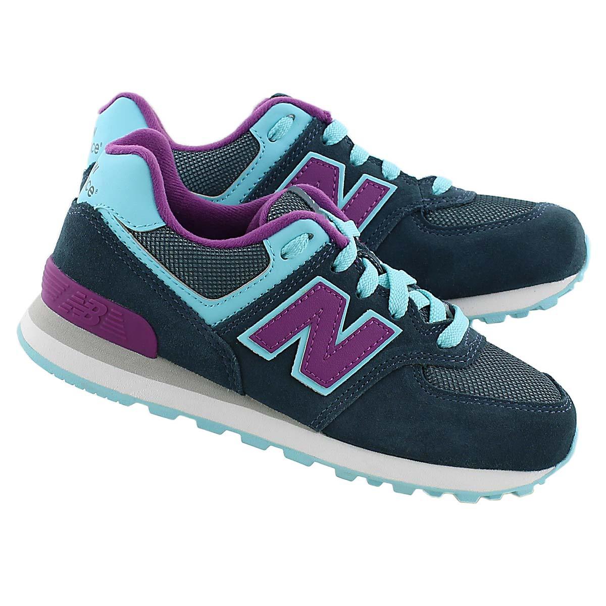 Grls 574 blue/purple lace up sneaker