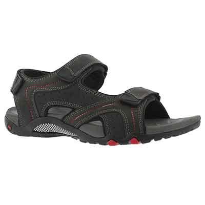 Mns Kraznys black 3 strap sport sandal