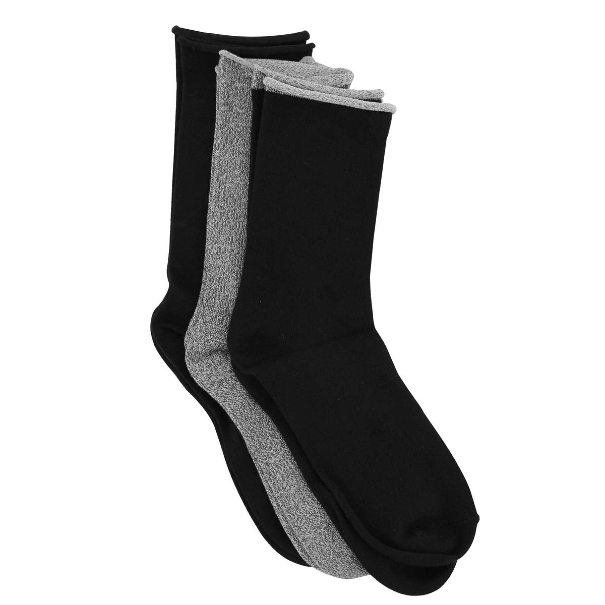Lds Marl Tip blk/gry thick sock - 3pk