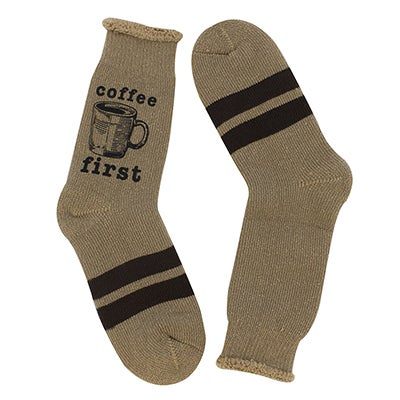 K Bell Women's COFFEE FIRST amphora crew socks