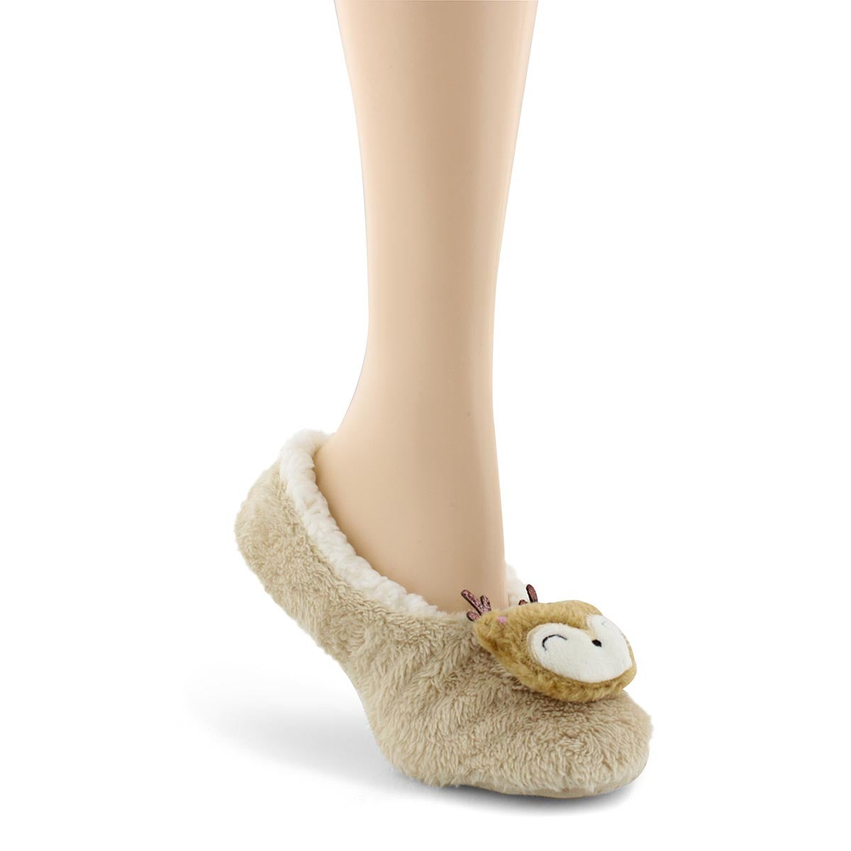 Lds PlushCritterSherpa tan deer slipper