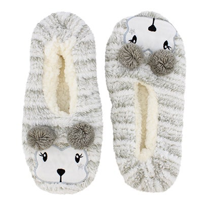 K Bell Women's POM CRITTER sherpa light grey slipper