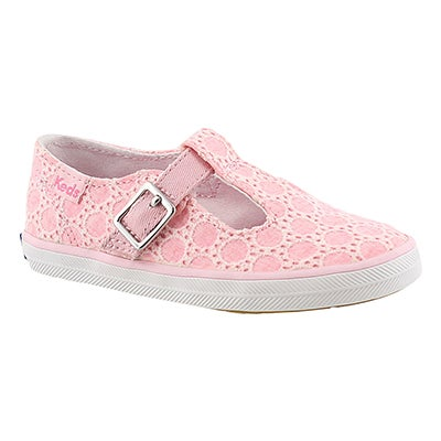 Keds Girls' T-STRAPPY pink casual sneakers