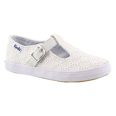 Keds Girls' T-STRAPPY white casual sneakers