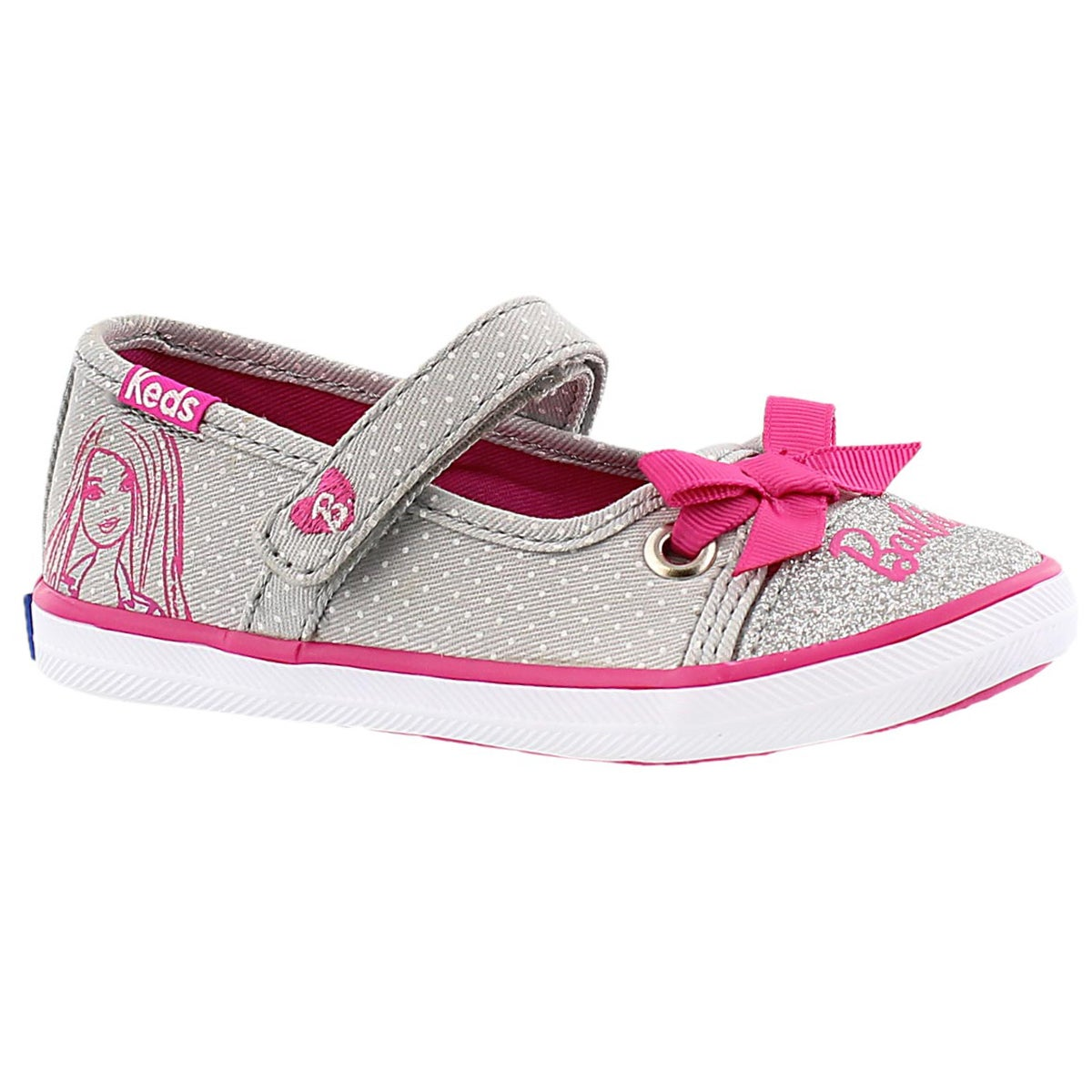 Inf Barbie MJ grey/pink mary jane