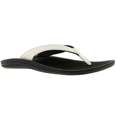 OluKai Women's KULAPA KAI white/black flip flops