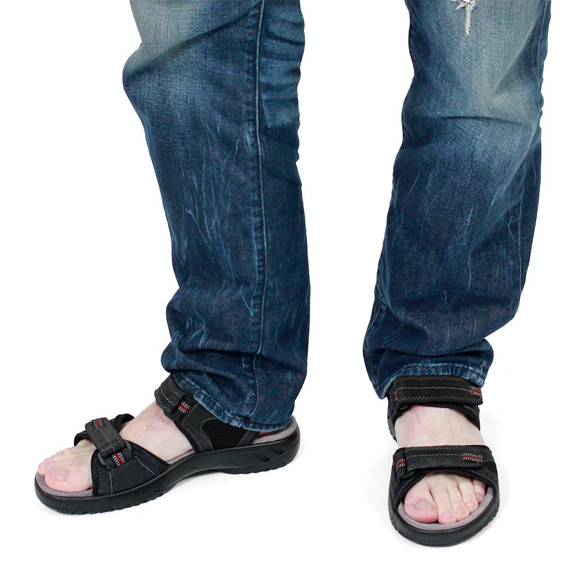 Mns Kurt black 3 strap sport sandal