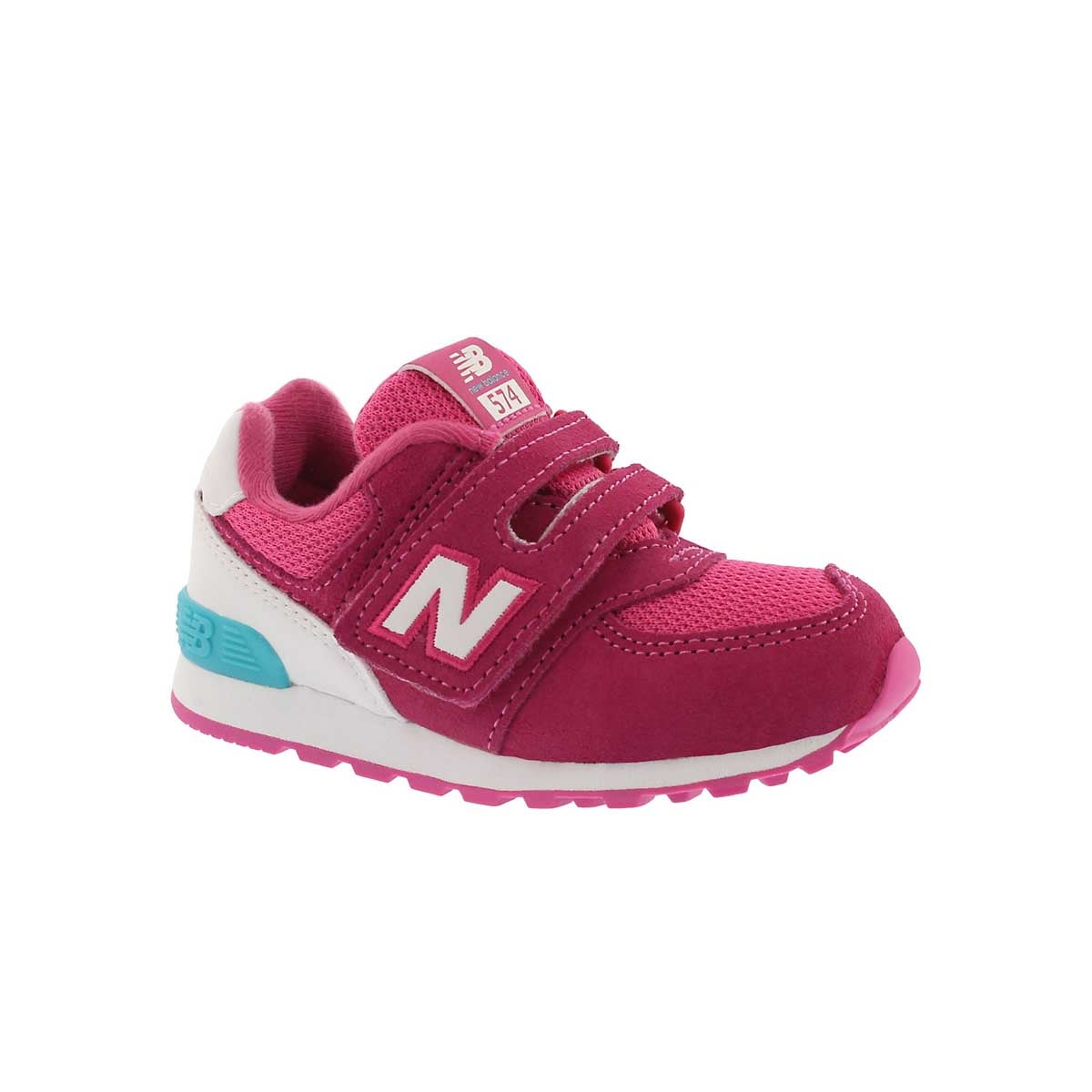 Infants' 574 pink/white sneakers