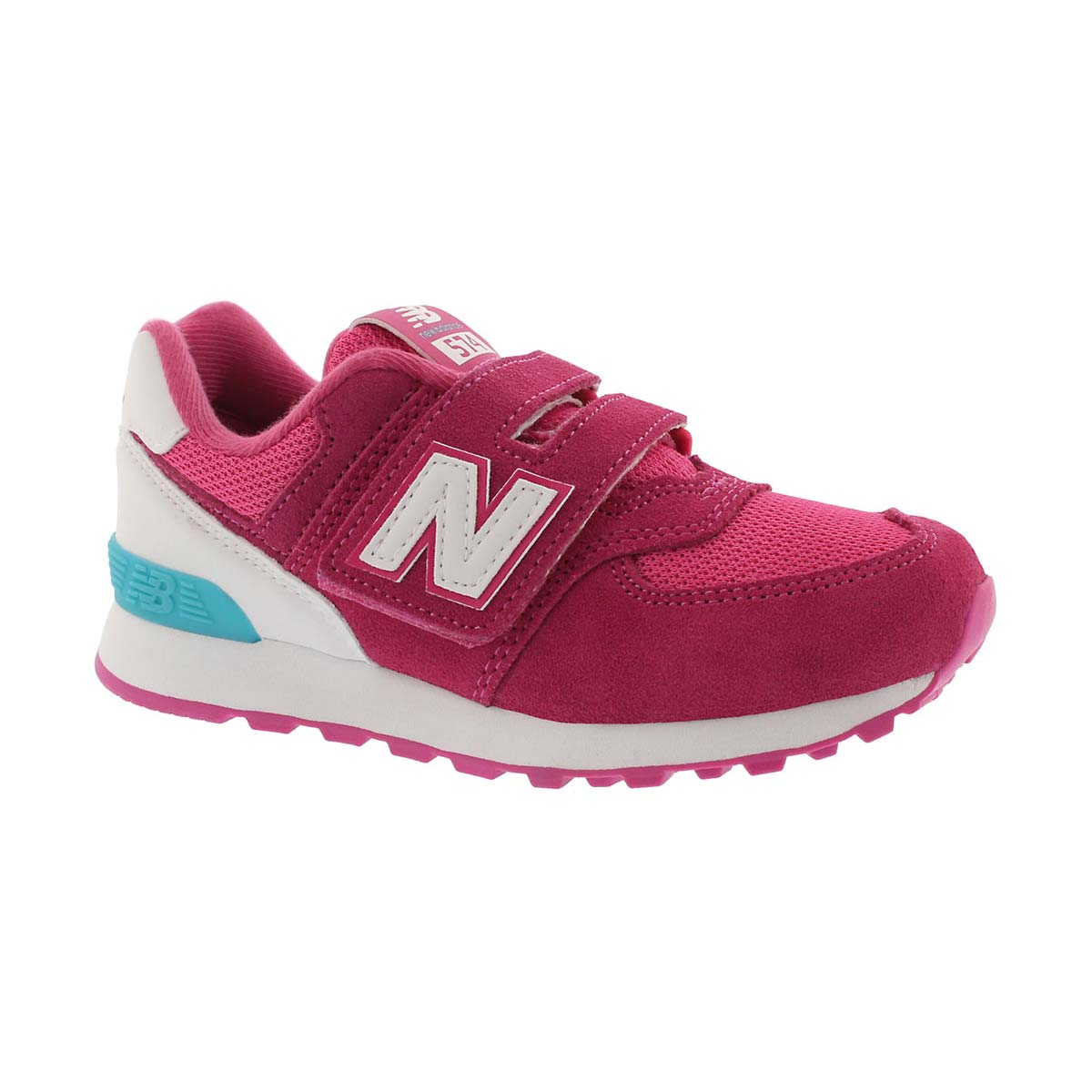 Girls' 574 pink/white sneakers