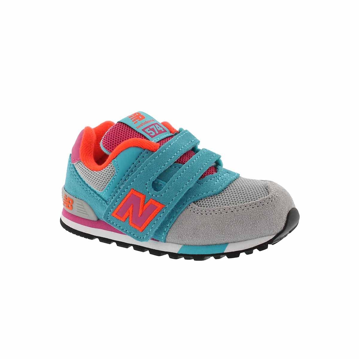 Infants' 574 grey/teal/pink sneakers
