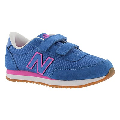 New Balance Girls' 501 blue/pink two strap sneakers
