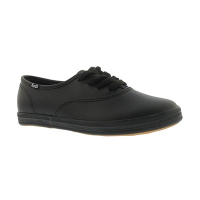 Keds Girls' CHAMPION black leather sneakers