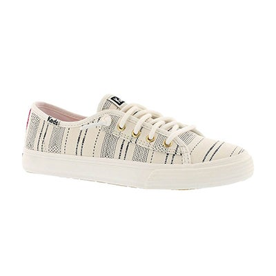 Keds Girls' DOUBLE UP ivory lace-up sneakers