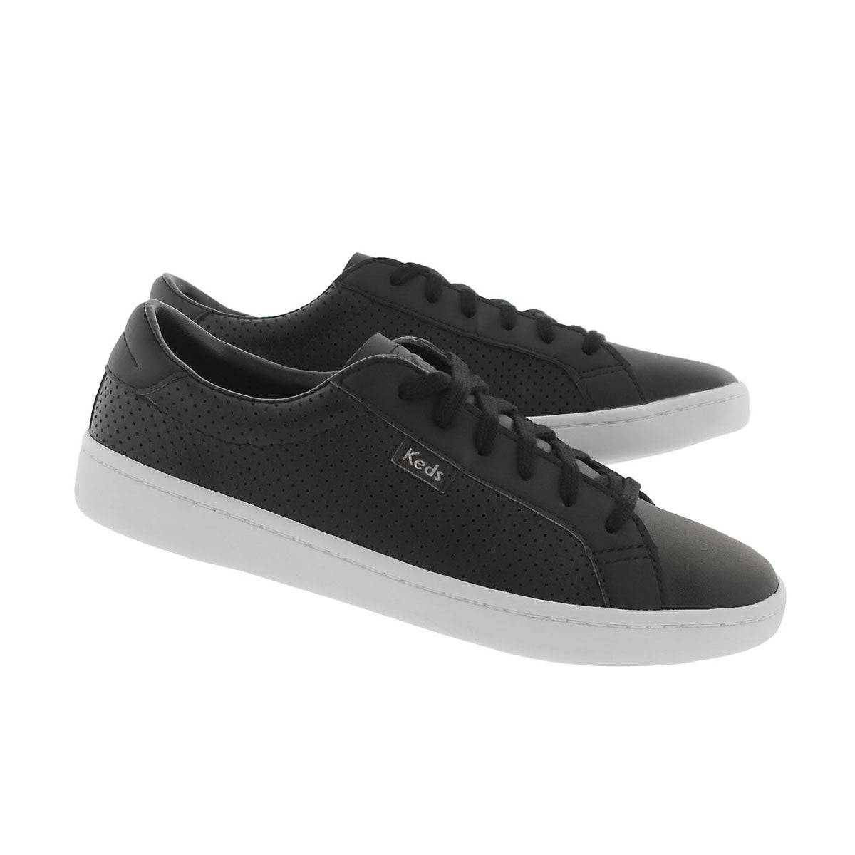 Grls Ace blk perf lace up sneaker