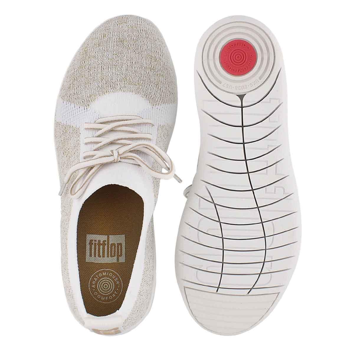 Lds Uberknit Sporty mtl gld/wht sneaker