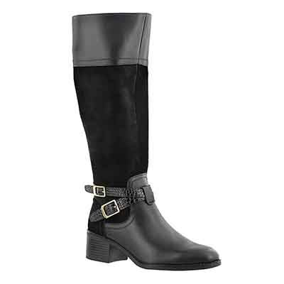Franco Sarto Women's LAPIS black tall wide shaft dress boots