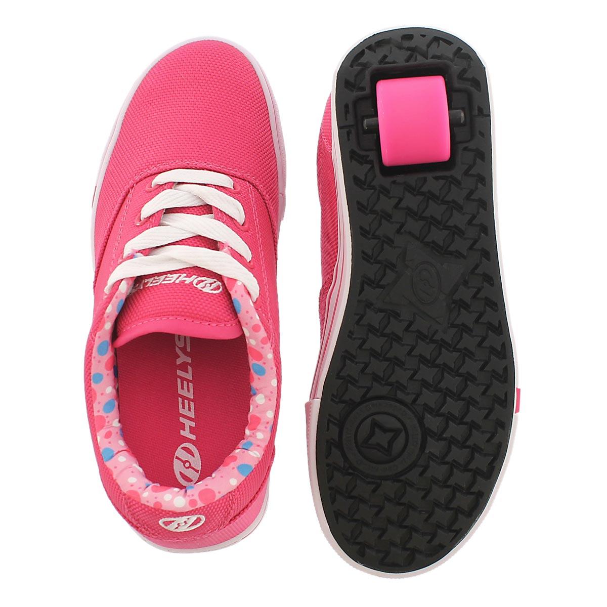 Grls Launch fuchsia lace up sneaker