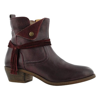 Lds Leah burgundy side zip ankle boot