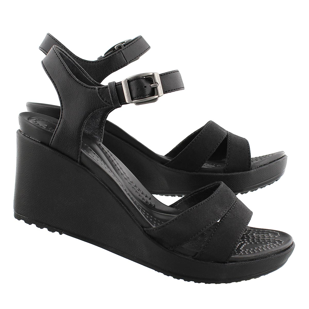 Lds Leigh II black wedge sandal