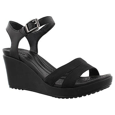 Crocs Women's LEIGH II black wedge sandals
