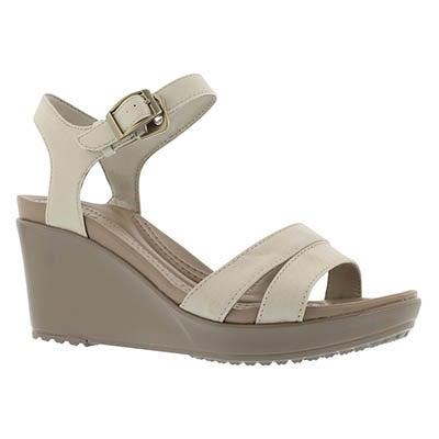 Crocs Women's LEIGH II oatmeal/kaki wedge sandals