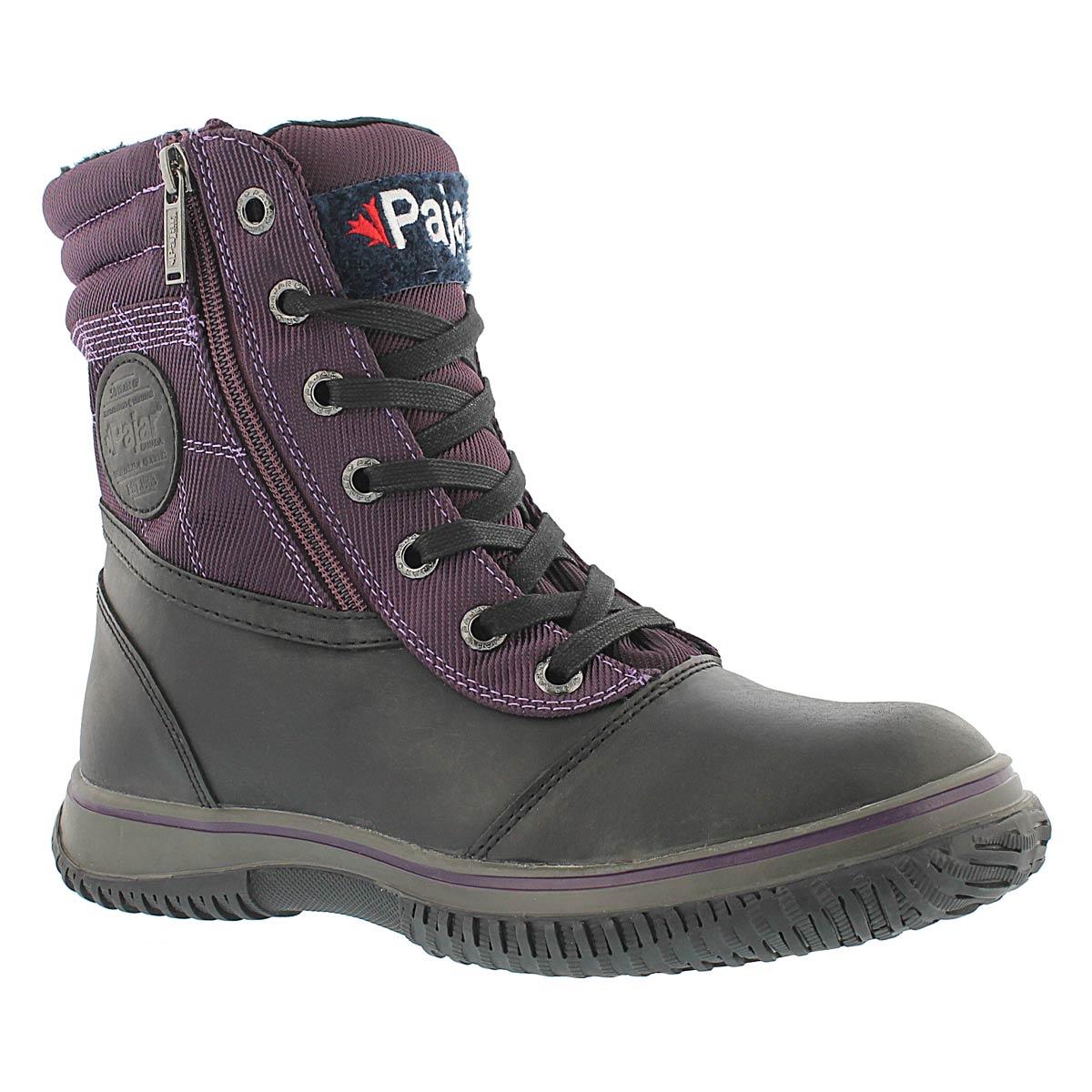 Women's LESLIE bllk/purple waterproof winter boots