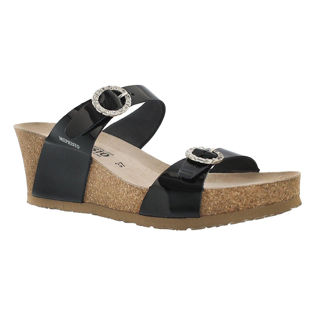 Lds Lidia blk pat crk footbed wdg sandal