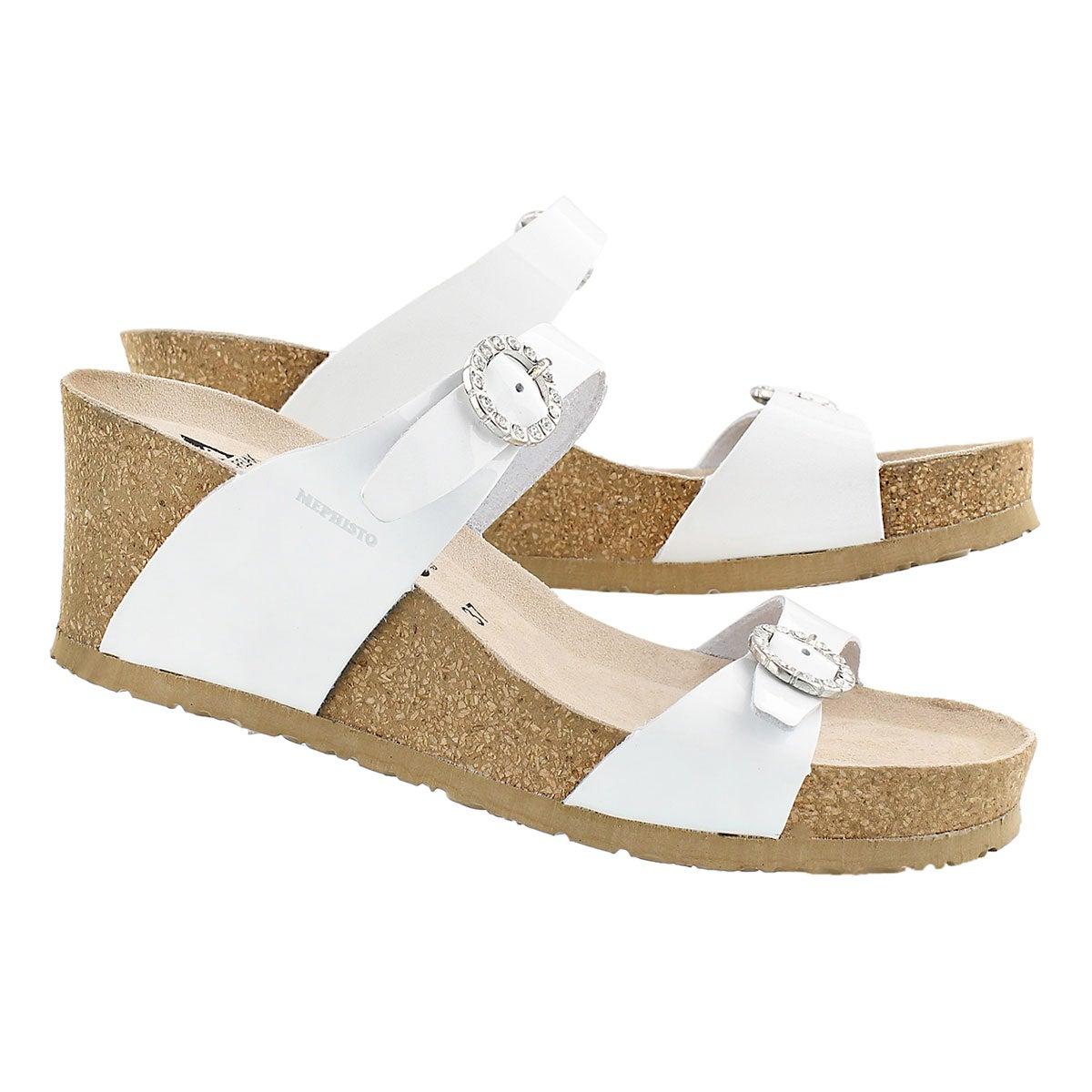 Lds Lidia wht pat crk footbed wdg sandal
