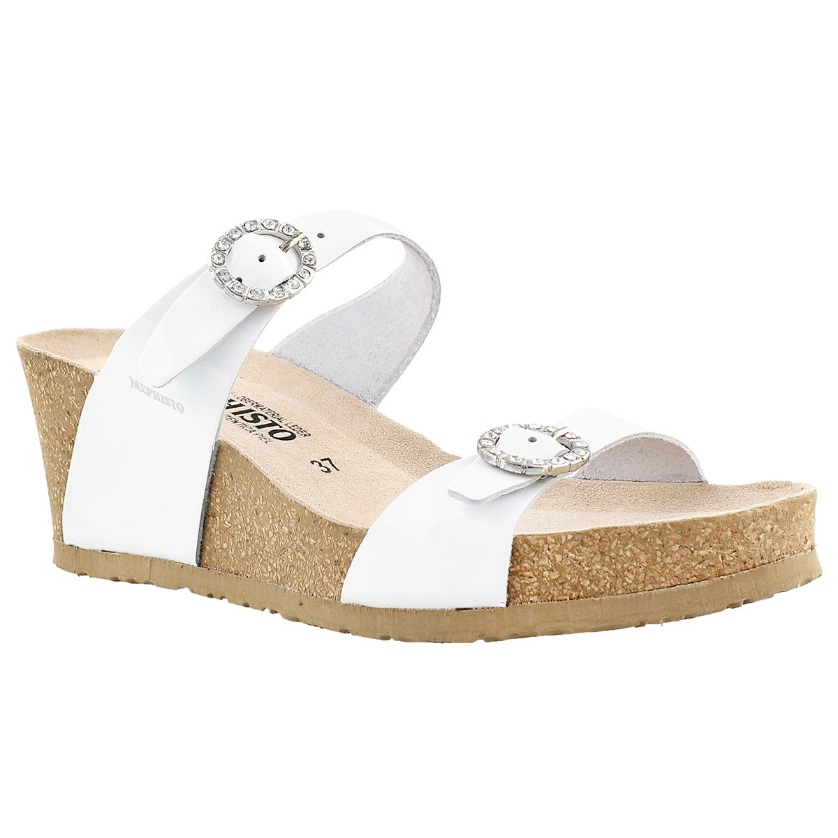 Women's LIDIA wht pat cork footbed wedge sandals