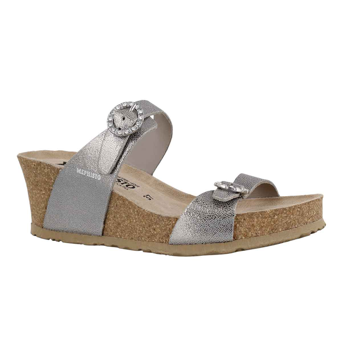 Women's LIDIA silver cork footbed wedge sandals