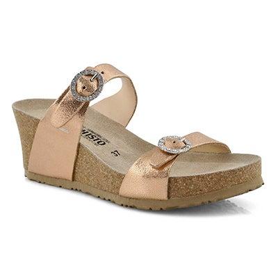 Lds Lidia lt gld crk footbed wdg sandal