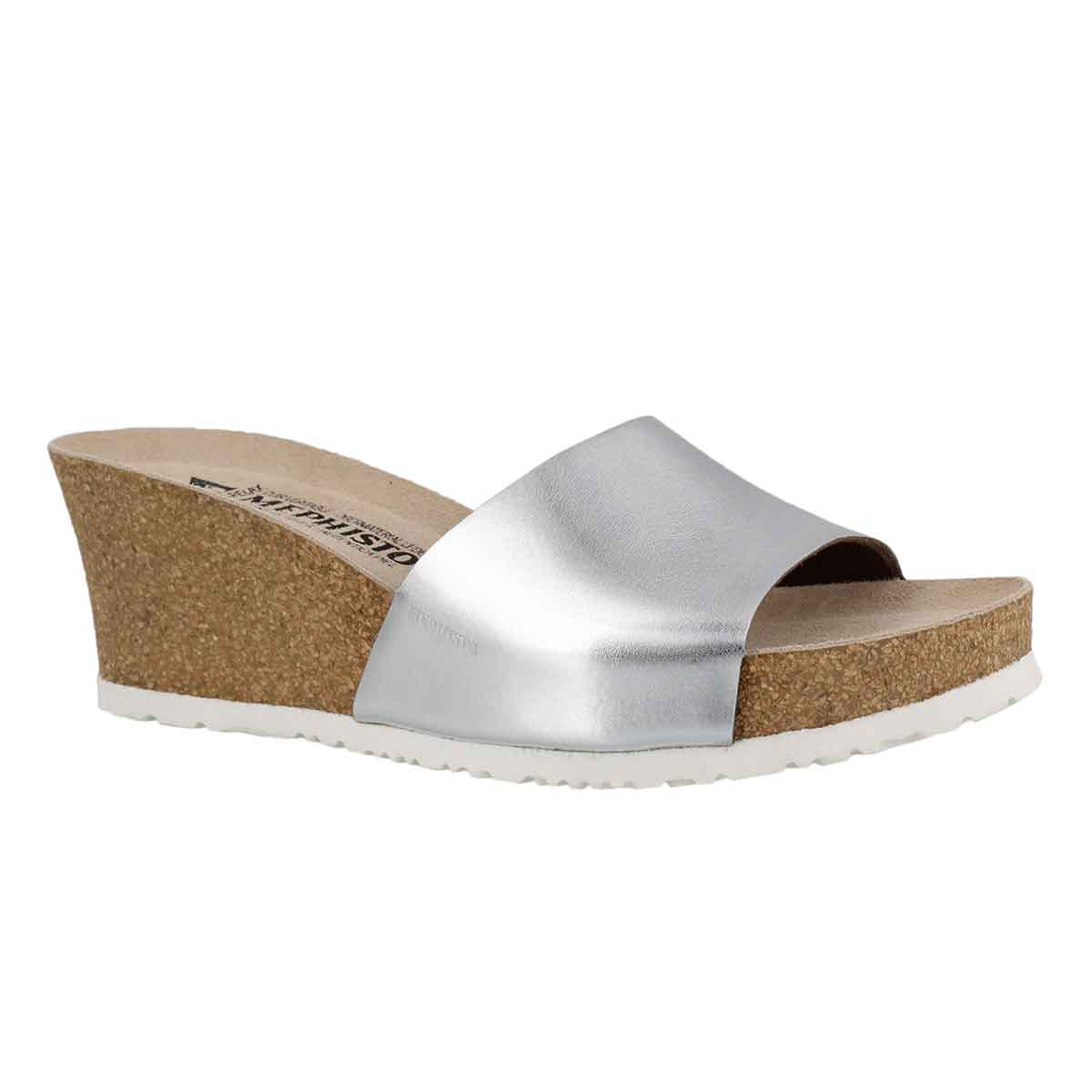 Women's LISE silver cork footbed wedge sandals